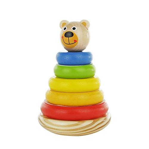 adorable bear wooden ring colorful