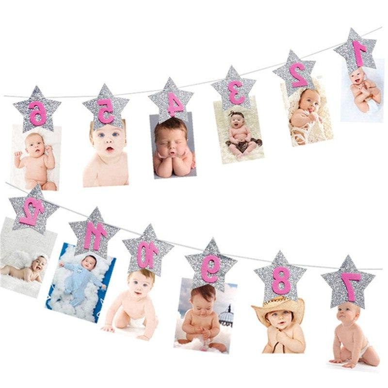 Baby 1st Birthday <font><b>Girl</b></font> <font><b>Month</b></font> Photo Banner One Year Photo First Birthday Party Decoration