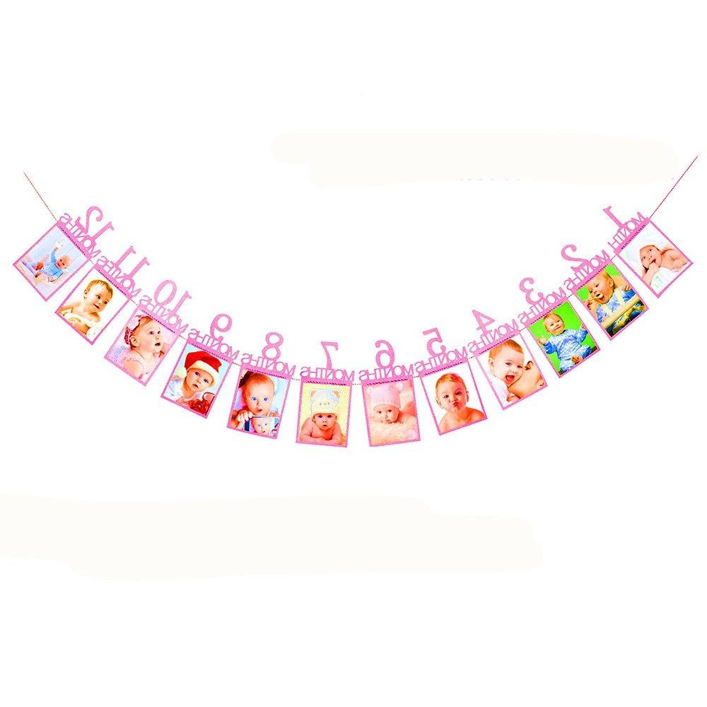 Baby <font><b>Girl</b></font> <font><b>12</b></font> <font><b>Month</b></font> Blue Photo Banner AM Banner Party Decorations Kids