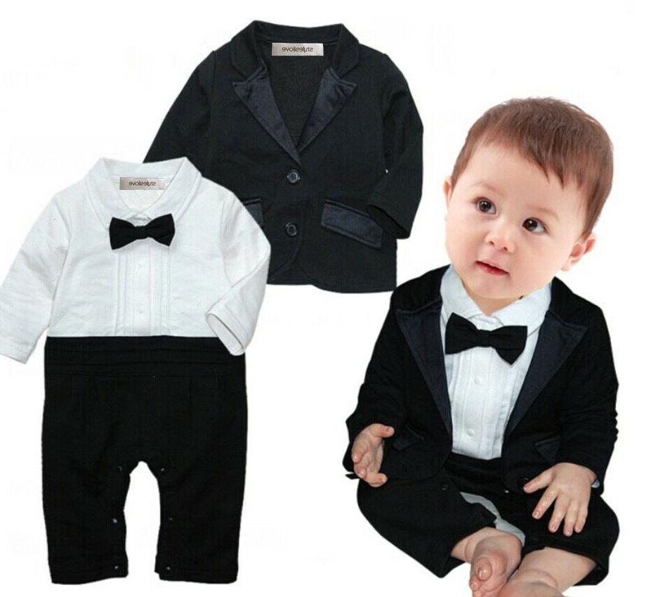 baby boy cotton tuxedo romper and jacket