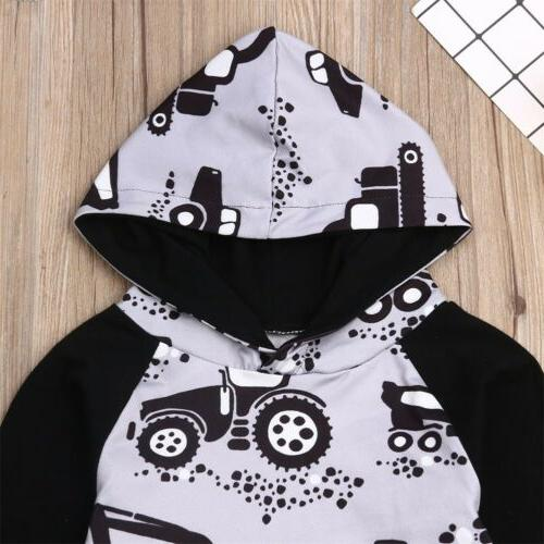 Baby Boy Girl Infant Clothes Hooded Tops+Pants Set Outfits US