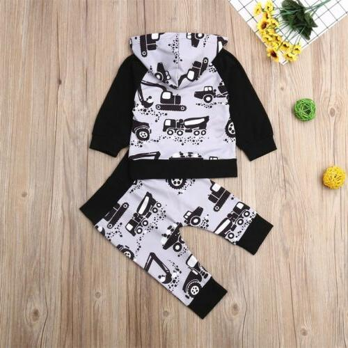 Baby Boy Clothes Hooded Tops+Pants 2PCS Outfits US