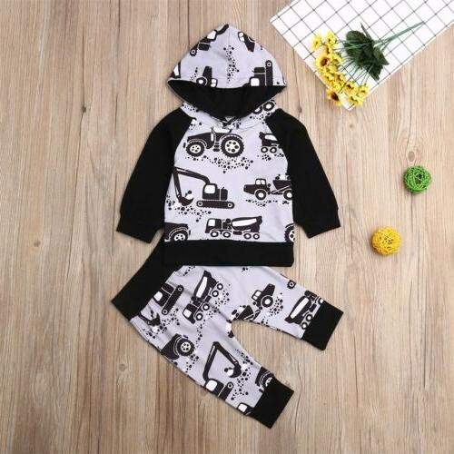 Baby Girl Infant Clothes Autumn Hooded Tops+Pants US