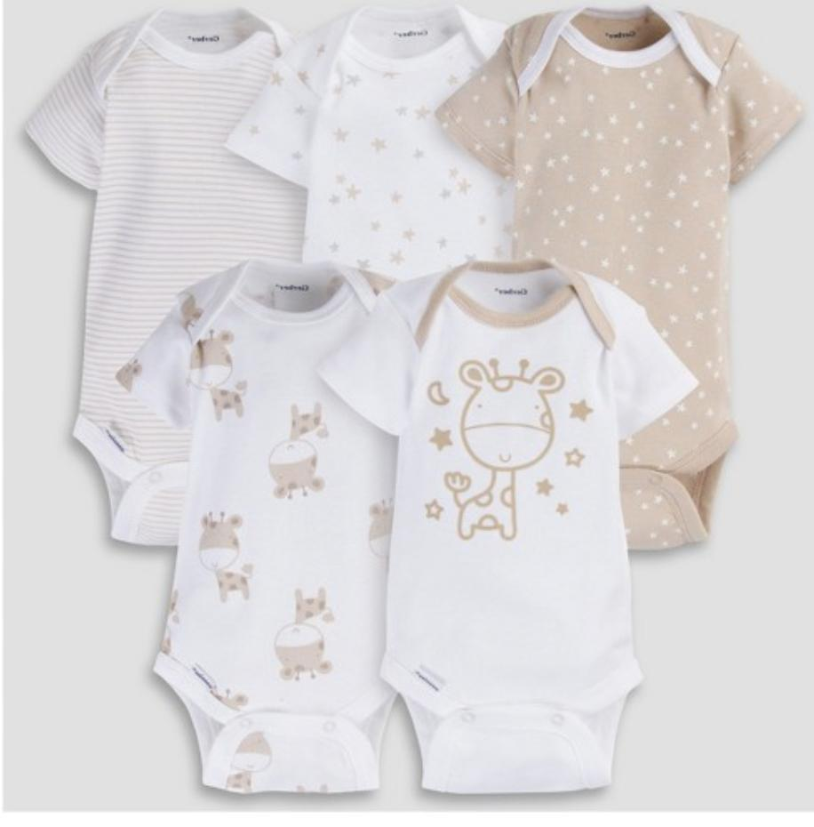 Baby Boy Lot of 5 Onesies Giraffes Stars NWT Gerber NB 3 6 9