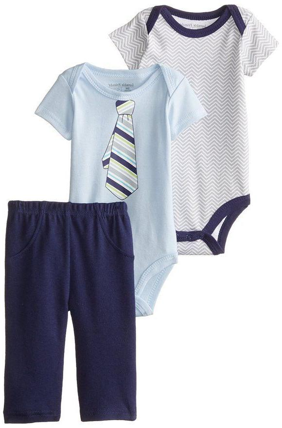 LUVABLE FRIENDS BABY BOYS 2 BODYSUIT AND PANTS SET COTTON 0