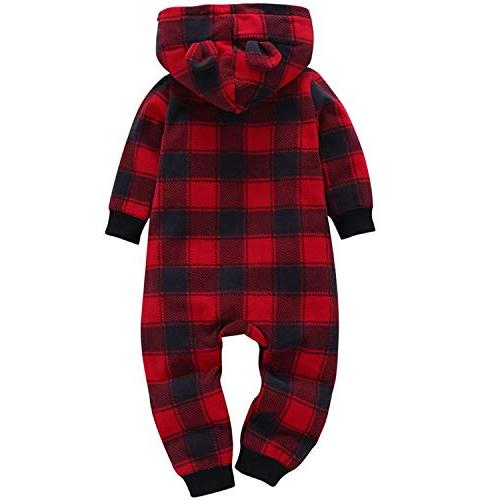 Baby Boys Christmas Outfit Long Hooded Romper Playsuit Winter Clothes for Infant