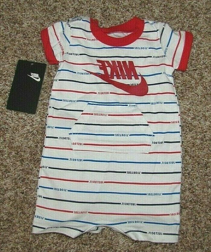 Nike Boys Coverall Romper Newborn 6 Months Pink White