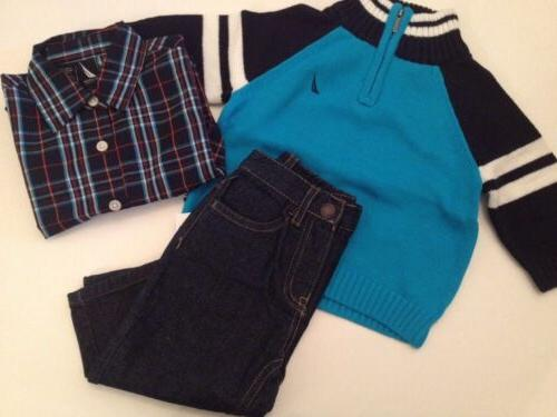 baby boys outfit sweater plaid shirt pants