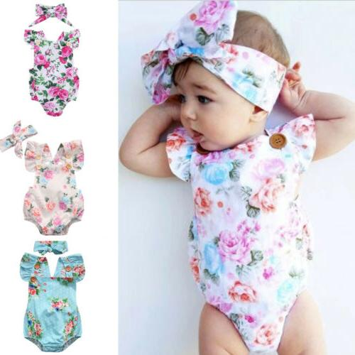 baby girl floral romper newborn headband infant