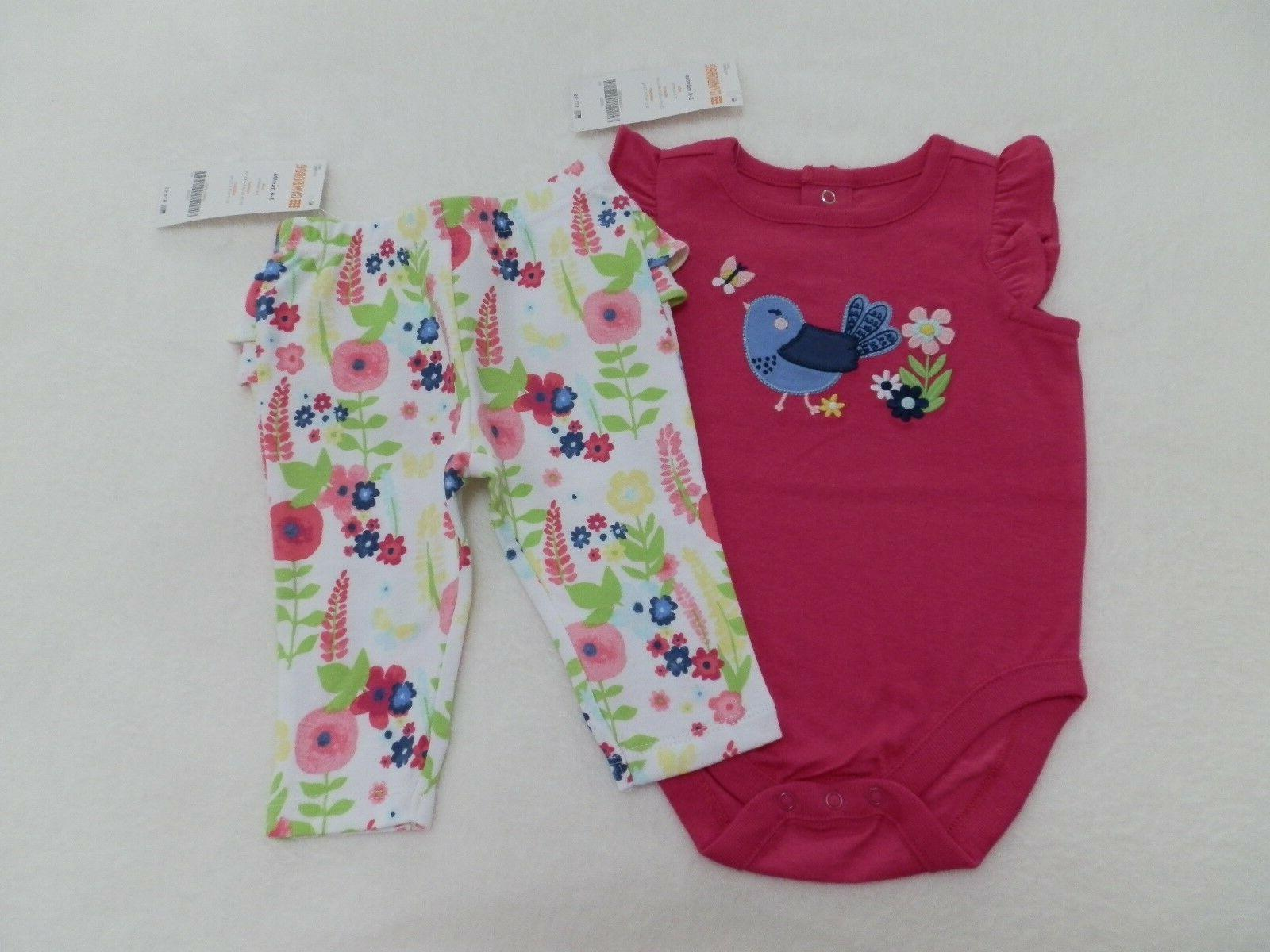 baby girl outfit pink bird bodysuit floral