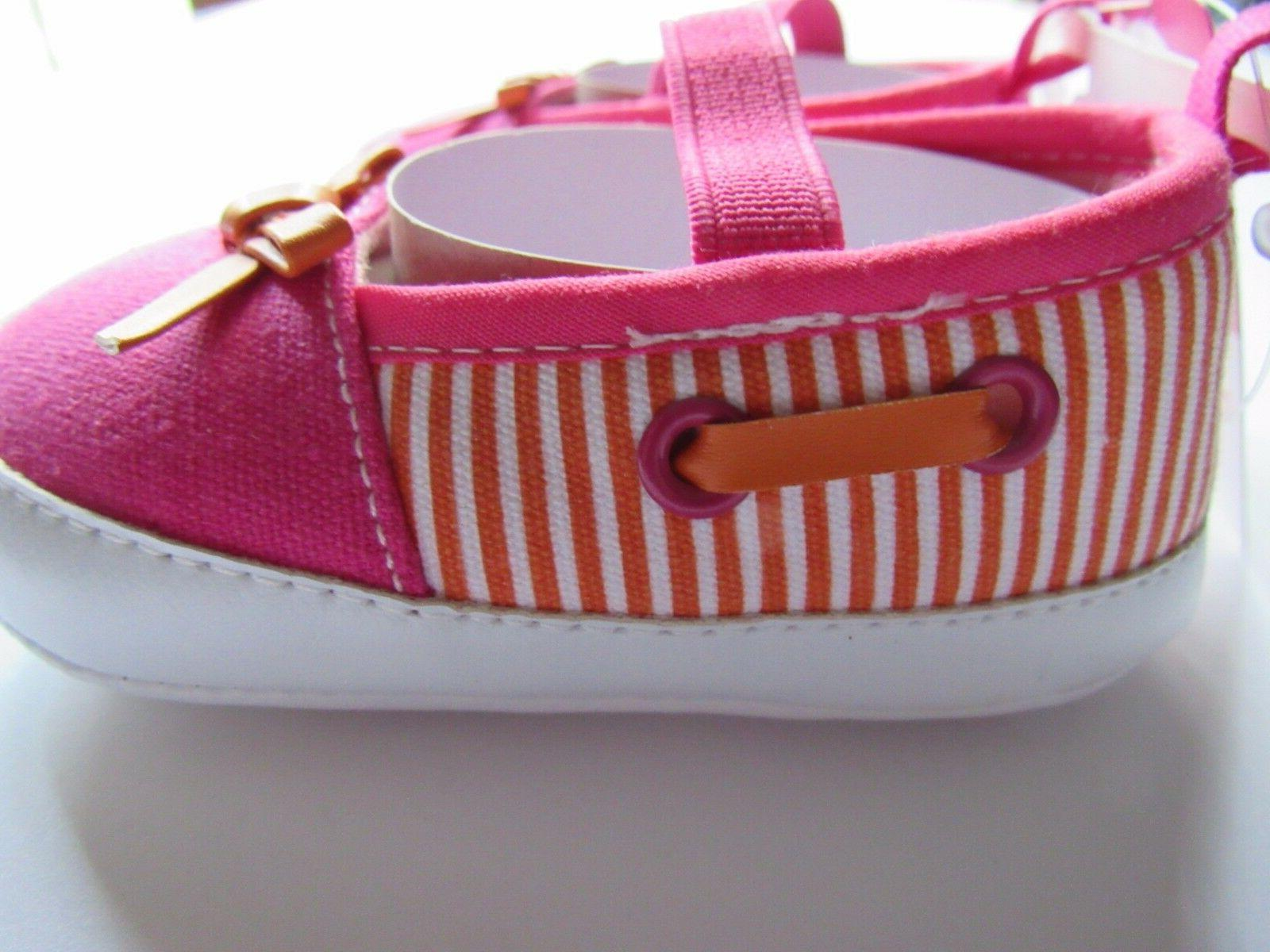 Luvable Slip-On Baby Pink Orange Striped Shoe