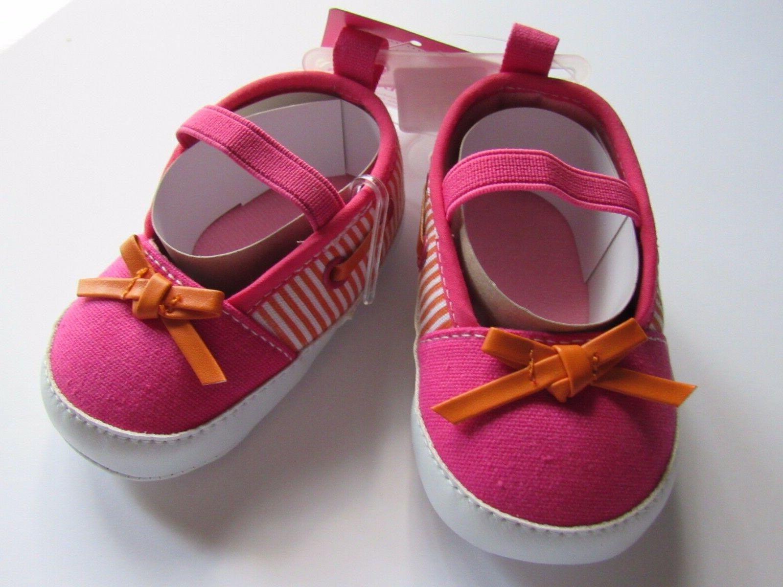 Luvable Friends Slip-On Baby Bootie Pink Orange Bow Shoe