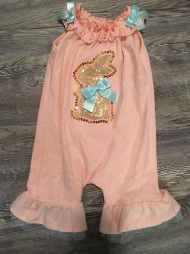baby girls easter sequin bunny coverall romper