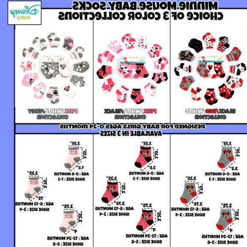 Disney Baby Minnie Mouse Assorted Design 12 Pair Socks Set, Age 0-24