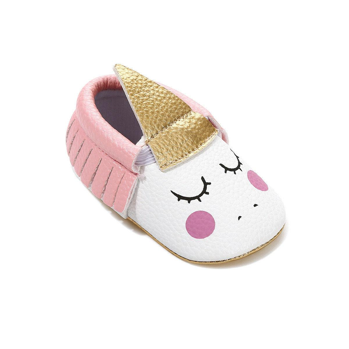Baby Girls First Walkers moccasins Toddler Unicorn Headband