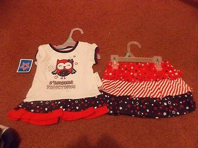 baby girls months 2 red/white and blue tee/scooter