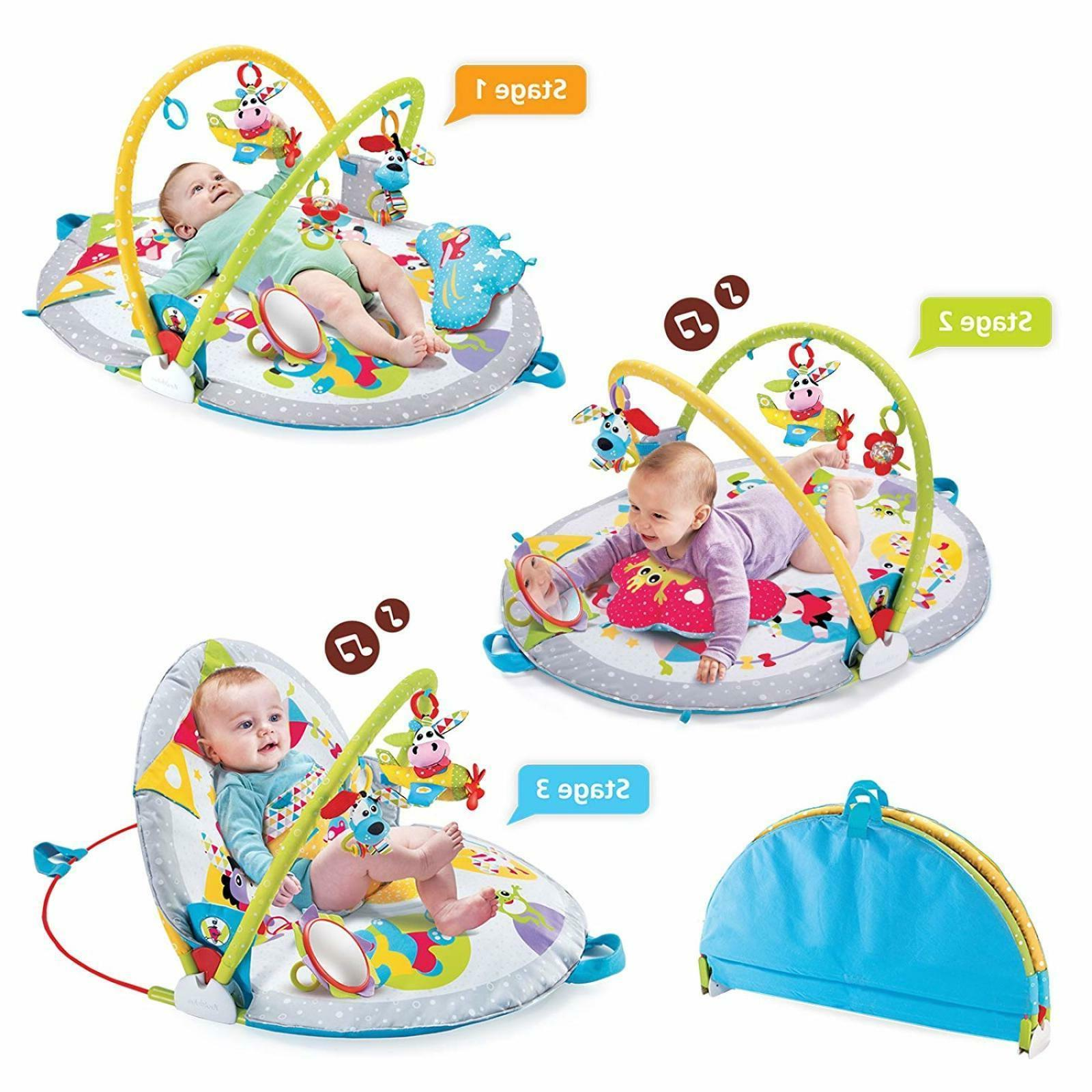 Baby Lay To Sit Up Play Gym Mat 3 Stages Activity Toy For Ag