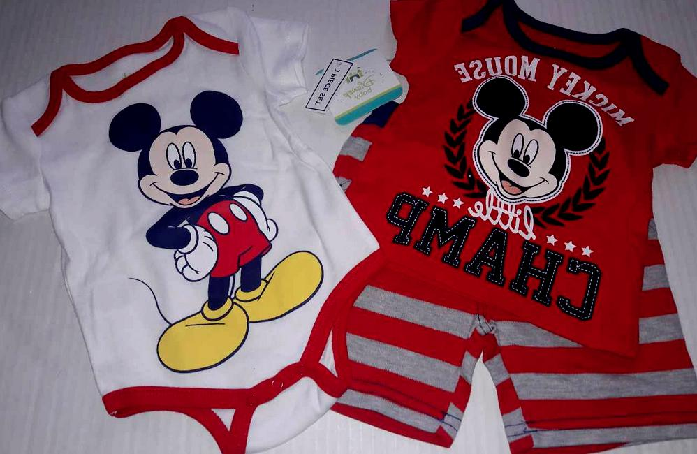 Disney Baby Mickey Mouse Body Suit Shirt & Shorts 3 pc Set B