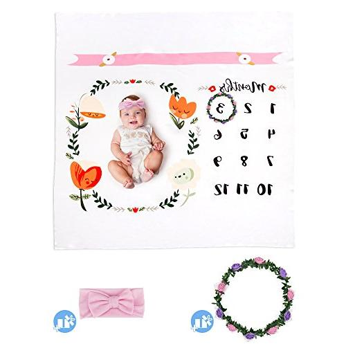 Baby Milestone by Gifts | Bonus Wreath | Soft Photography Background Prop Boy Pictures Gift Mom | Newborn to 12