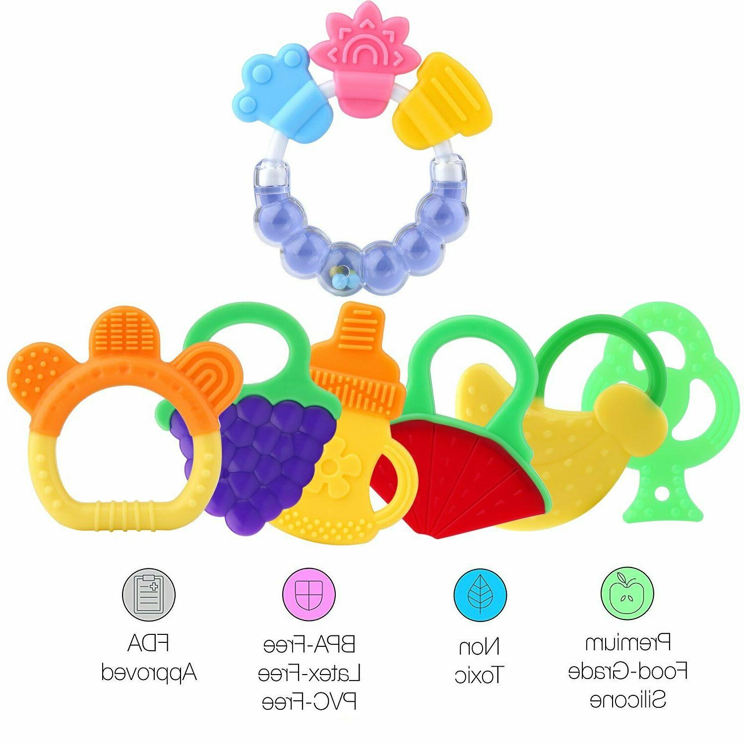 Baby Teething Toys,Gel Teether Keys, Fruit Baby teether for