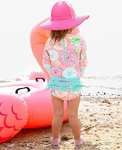 RuffleButts Baby/Toddler Sleeve One - Tropical UPF 50+ -