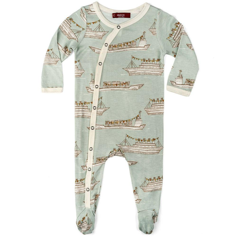 bamboo infant baby footed romper blue ships