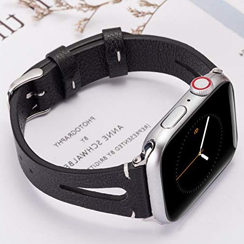 Wearlizer Black Leather Compatible Apple Straps 44mm Womens Special Hole Wristband Sport Bracelet Series 4 2 1