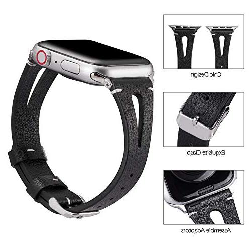 Wearlizer Leather Compatible with Apple Watch Straps iWatch Womens Mens Special Hole Wristband Sport Replacement Bracelet 3 2 1 Edition