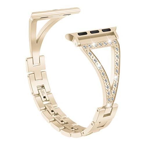 Wearlizer Bling Compatible Apple Watch Womens iWatch Straps Jewelry Steel Dress Replacement Metal 3 1-Champagne
