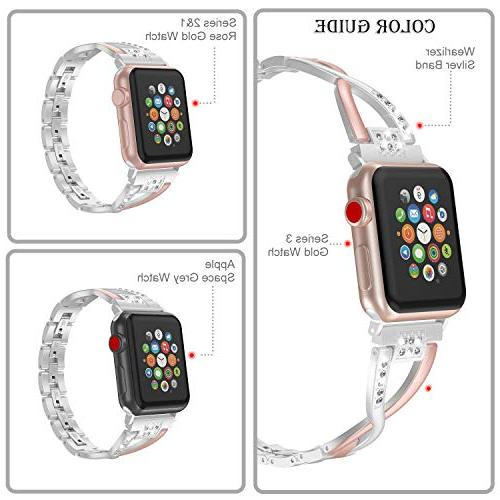 Wearlizer Bling with Apple 40mm Womens Color Matching Silver Stainless X Wristband Beauty Metal Series