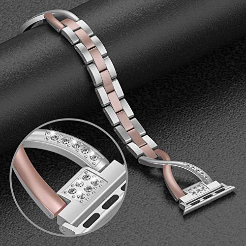 Wearlizer Bling Apple 38mm 40mm Rhinestone iWatch Color Silver Replacement Stainless Metal 3 2