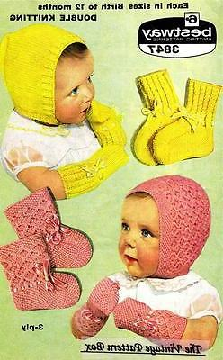 BONNETS & MITTS sizes birth to 12 months / 3ply & 8ply  - CO