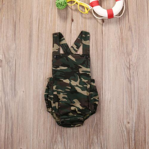 Camouflage Newborn Boy Girl Jumpsuit Clothes Sunsuit