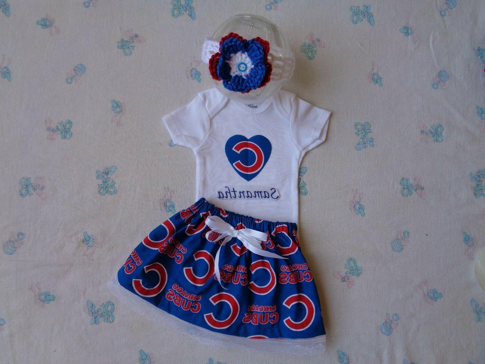 chicago cubs baby girl skirt personalized bodysuit