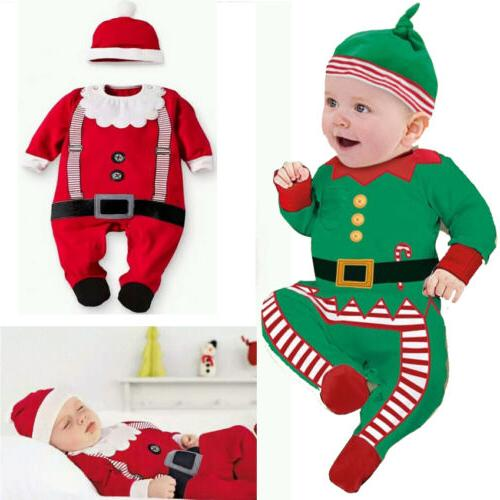 Christmas Baby Boys Girl Xmas Clothes Bodysuit Hat Costume