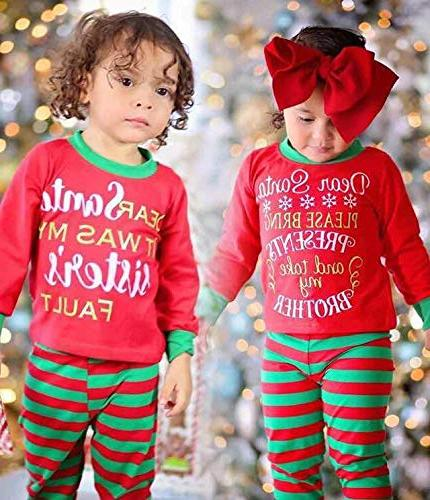 Christmas Outfit for Baby Boys Match Top Pants Set