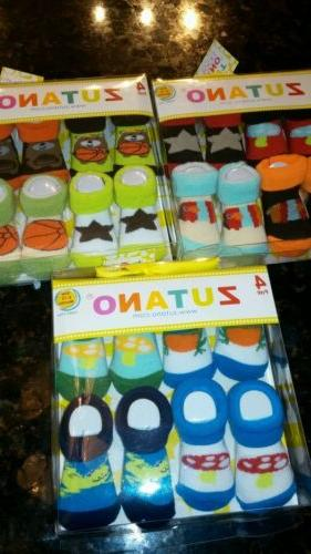 Zutano colorful designer boys 0-12 month booties- one pack o