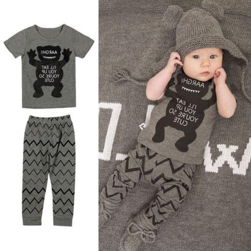 cotton newborn baby boys monster tops t