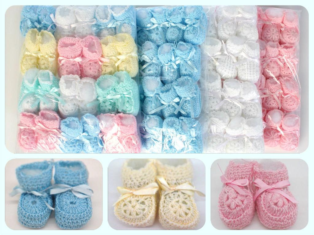 Crochet Booties Ribbon Baby Newborn Pink White Blue Unisex 0
