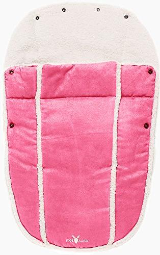 Wallaboo Bag, for Car Stroller Luxurious suéde and faux sheerling, 12 months, 33 Color: Pink