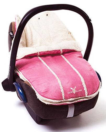Wallaboo Baby Universal Bunting Bag, for Stroller Footmuff Luxurious suéde and faux sheerling, Newborn 12 33 x 20 inch, Color: