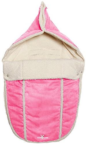 Wallaboo Baby Universal Bunting Bag, Stroller Pushchair, Footmuff Luxurious suéde and soft faux sheerling, Newborn upto 12 33 x inch, Color: Pink