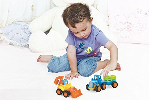 Friction and Car Construction Vehicles of 4 Mixer, & Dump Truck for Boys Baby Toddlers Kids Gift
