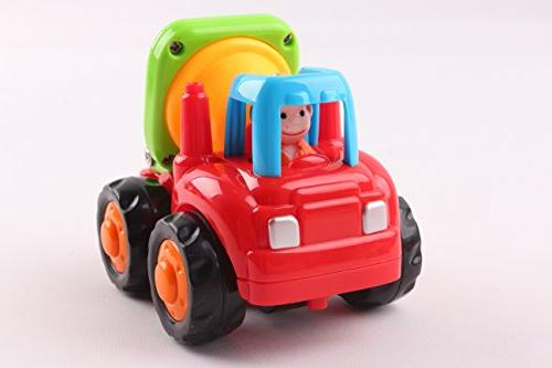 Friction Push and Go Toys Construction Vehicles of Mixer, Dump Truck Toddlers