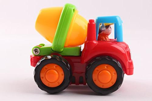 Friction and Toys Construction Vehicles Mixer, Bulldozer & Truck Boys Toddlers Kids