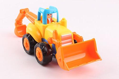Friction and Go Toys Construction Toys Set of Mixer, Bulldozer Truck Toddlers Gift