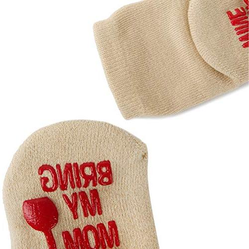 Fun Anti-Skid Socks Shower Gift Cute Quotes Newborn Present 4 with Gift Months