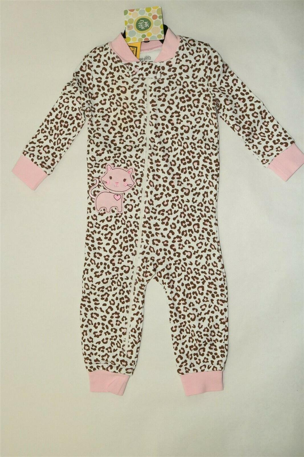 LITTLE ME Girl's Zip Front Sleeper Outfit Animal Print 12 Mo