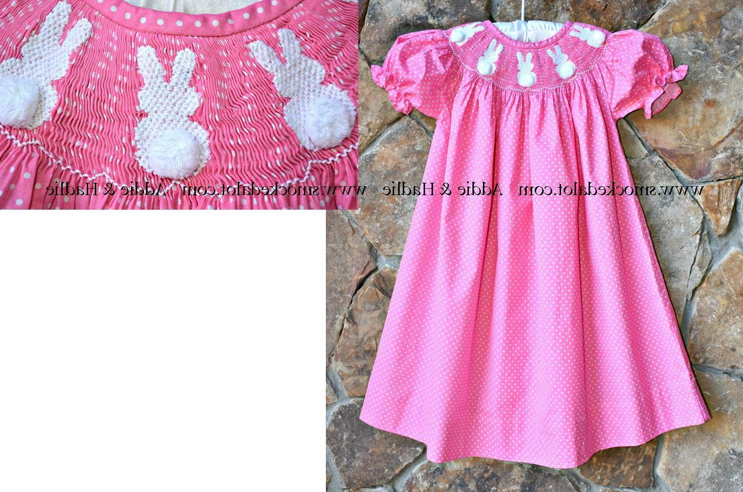 Smocked A Lot Girls Easter Bunny Bishop Dress Pink Polka Dot