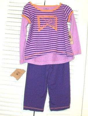 girls two piece purple orange athletic set